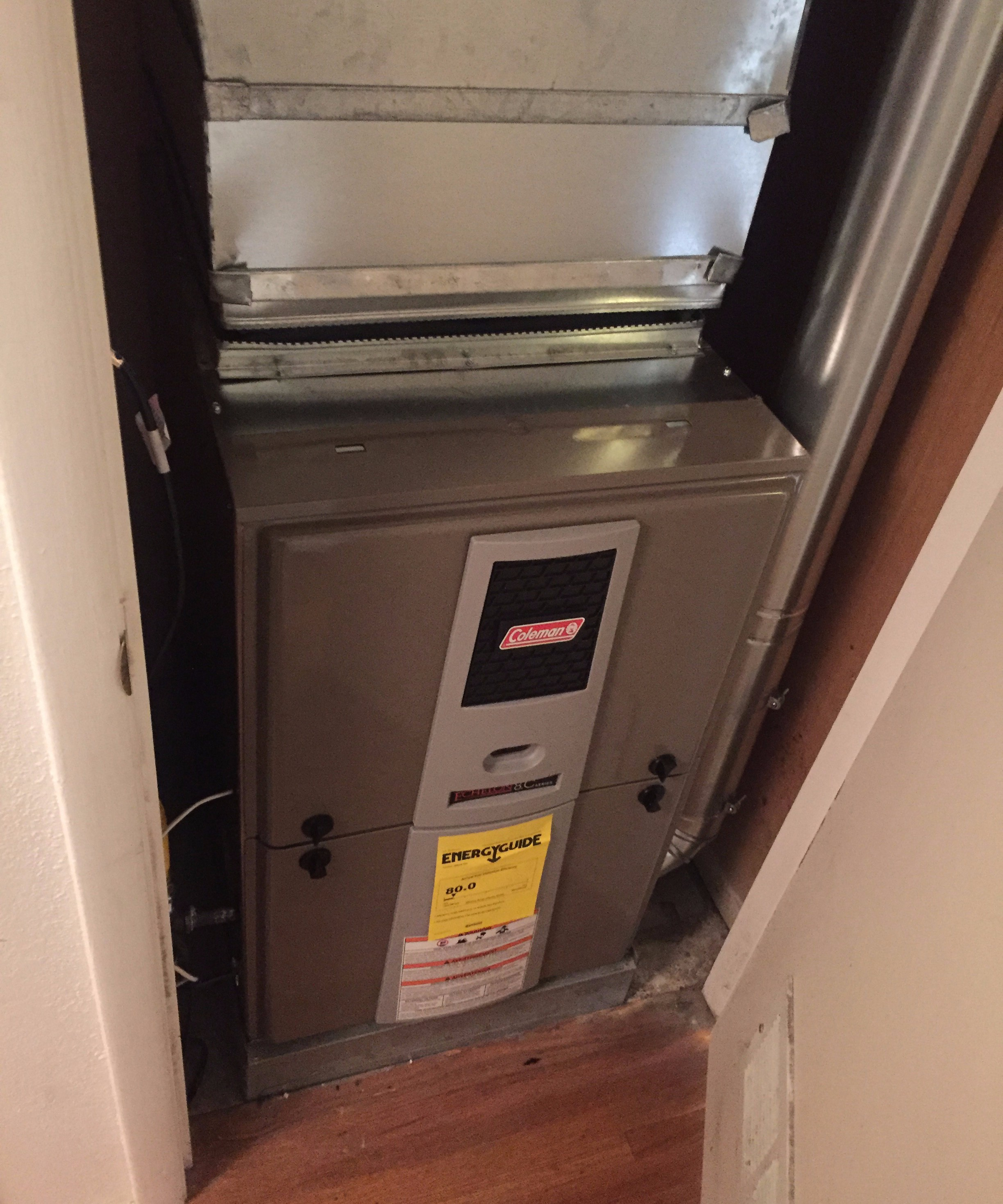 Coleman 80% Efficient Furnace with new thermostat and return grill