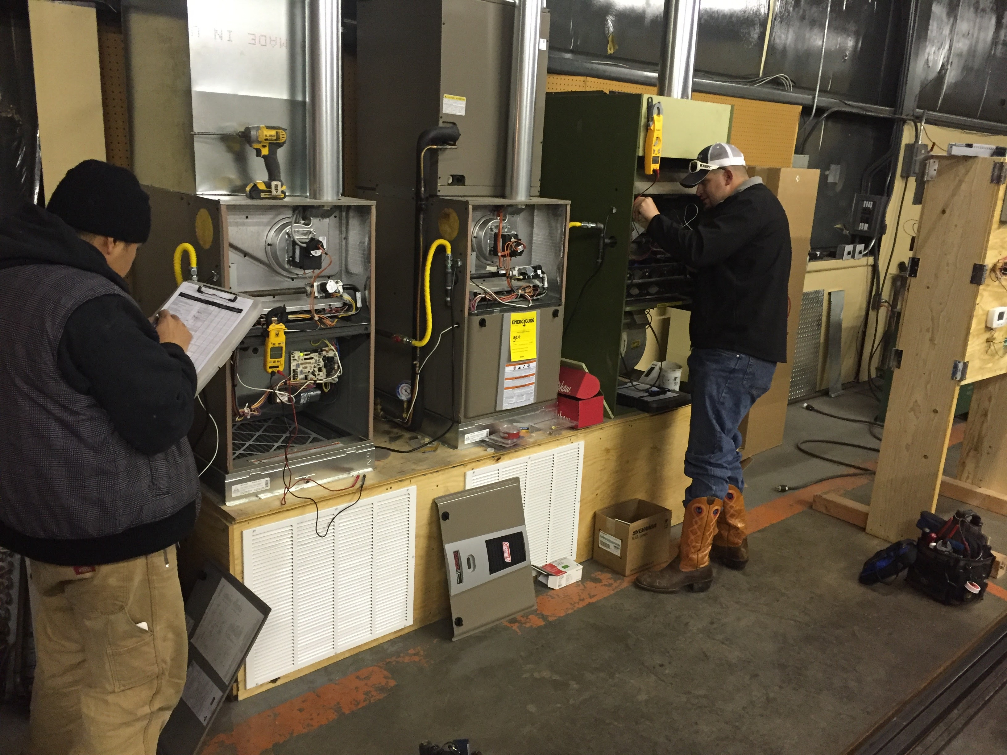 We build a training station with three types of gas furnaces so we could train on everything from the latest controls to the oldest wiring and components!