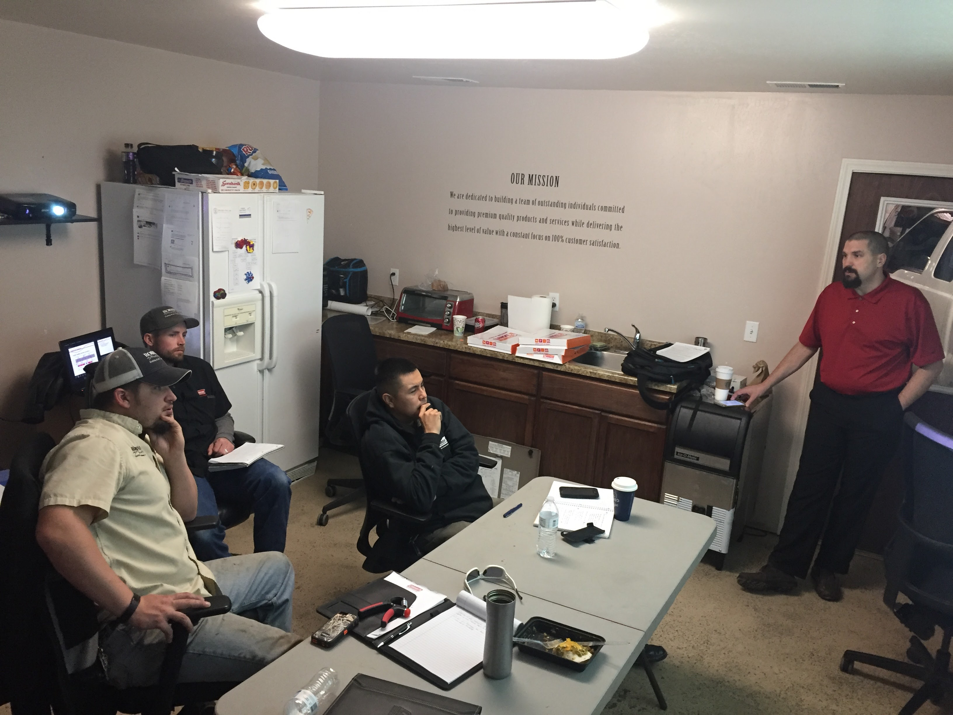 We bring in manufacturer's reps to train on the latest equipment and repair techniques.