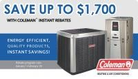 SAVE Up To $1,700! With Coleman Instant Rebates.